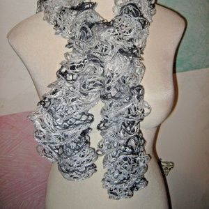 Gray White Silver Sparkly Glitter Mesh Scarf